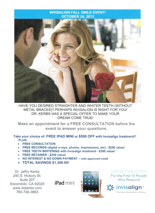 Dr. Kerbs Office Escondido Fall Invisalign Promotion!!